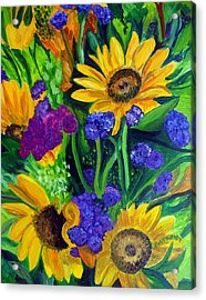 Sunflowers -soaking Up Sunshine Acrylic Print