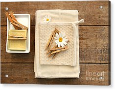 Soap Clothespins And Towels  Acrylic Print by Sandra Cunningham