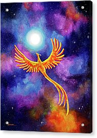 Soaring Firebird In A Cosmic Sky Acrylic Print by Laura Iverson