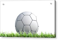 Soccer Ball Resting On Grass Acrylic Print by Allan Swart