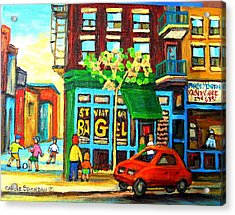 Soccer Game At The Bagel Shop Acrylic Print by Carole Spandau