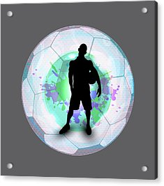 Soccer Player Posing With Ball Soccer Background Acrylic Print by Elaine Plesser