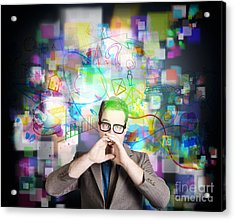 Social Media Internet Man With Marketing Message Acrylic Print