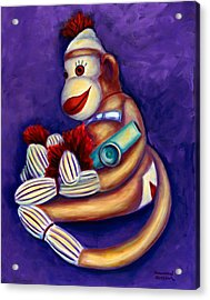 Sock Monkey With Kazoo Acrylic Print