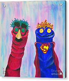 Sock Puppets Under Cover Acrylic Print by Robin Wiesneth