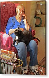 Socks And Marion On Phone Acrylic Print by Fred Jinkins