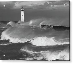 Acrylic Print featuring the photograph Sodus Point Light During The Storm by Chris Babcock