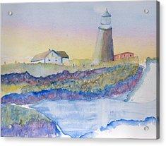 Soft Blue And A Light House Acrylic Print by MaryBeth Minton