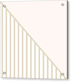 Soft Blush And Champagne Stripe Triangles Acrylic Print by Linda Woods