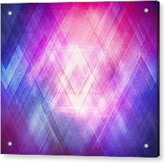 Soft Modern Fashion Pink Purple Bluetexture  Soft Light Glass Style   Triangle   Pattern Edit Acrylic Print by Philipp Rietz
