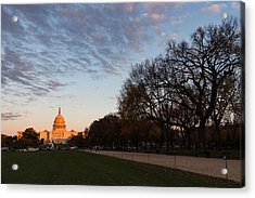 Soft Orange Glow - U S Capitol And The National Mall At Sunset Acrylic Print