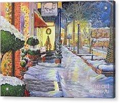 Soft Snowfall In Dahlonega Georgia An Old Fashioned Christmas Acrylic Print