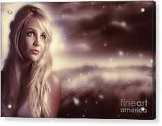 Soft Young Elegant European Woman In Winter Snow  Acrylic Print by Jorgo Photography - Wall Art Gallery