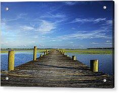 Sol Legare Wooden Dock Vanishing Point Acrylic Print