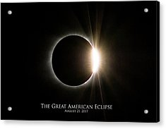 Acrylic Print featuring the photograph Solar Eclipse Diamond Ring With Text by Lori Coleman