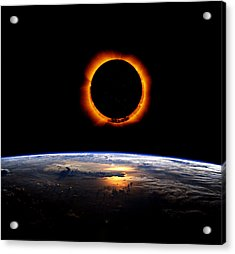 Solar Eclipse From Above The Earth Acrylic Print
