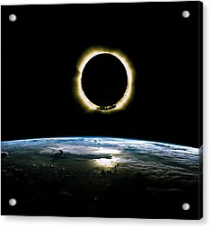 Solar Eclipse From Above The Earth - Infrared View Acrylic Print