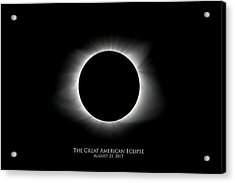 Acrylic Print featuring the photograph Solar Eclipse Ring Of Fire With Text by Lori Coleman