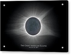 Acrylic Print featuring the photograph Solar Eclipse With Moon Detail And Text by Lori Coleman
