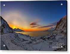 Solar Halo And Sun Pillar, Norway Acrylic Print by Babak Tafreshi