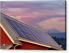 Solar Panels On Roof Of House Acrylic Print by David Gn