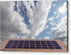 Solar Panels On Roof Top Acrylic Print by David Gn