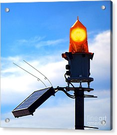 Solar Powered Marine Safety Orange Beacon Light  Acrylic Print by Olivier Le Queinec