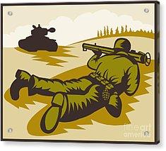 Soldier Aiming Bazooka Acrylic Print by Aloysius Patrimonio