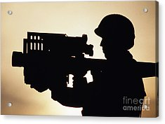 Soldier Holds A Stinger Anti-aircraft Acrylic Print by Stocktrek Images