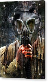 Soldier In World War 2 Gas Mask Acrylic Print by Jill Battaglia