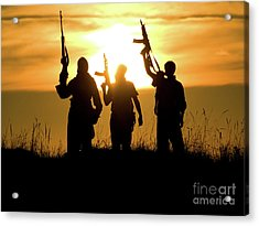 Soldiers Against A Sunset Acrylic Print
