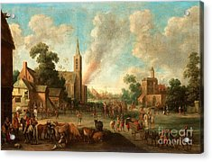 Soldiers Occupy The Village Acrylic Print
