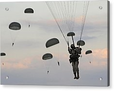 Soldiers Of The 82nd Airborne Descend Acrylic Print by Everett