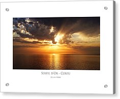 Acrylic Print featuring the digital art Soleil D'or - Corfu by Julian Perry
