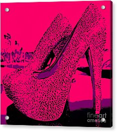 Solid Pink High Heels  Acrylic Print by Catherine Lott