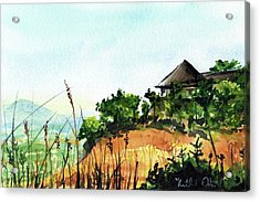 Acrylic Print featuring the painting Solitary Cottage In Malawi by Dora Hathazi Mendes