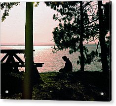 Solitude On A Golden Lake Acrylic Print by George Cousins