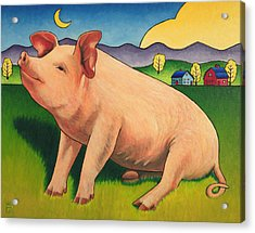 Some Pig Acrylic Print by Stacey Neumiller