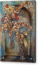 Roses, Eucalyptus And Wood Manikin  On Arch - Still Life Acrylic Print