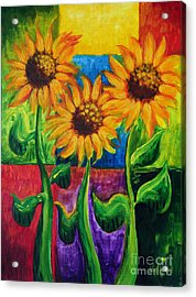 Acrylic Print featuring the painting Sonflowers II by Holly Carmichael