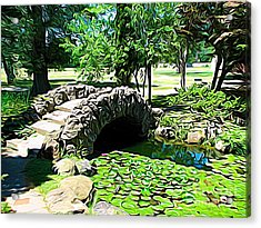 Sonnenberg Gardens Japanese Garden Bridge And Waterlily Pond Expressionist Effect Acrylic Print by Rose Santuci-Sofranko