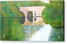 Sonning Bridge In Autumn Acrylic Print by Joanne Perkins