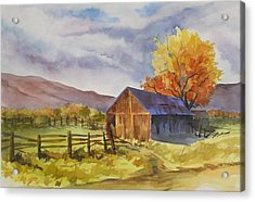 Acrylic Print featuring the painting Sonora Barn by Pat Crowther
