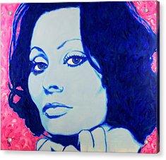 Acrylic Print featuring the painting Sophia Loren Pop Art Portrait by Bob Baker