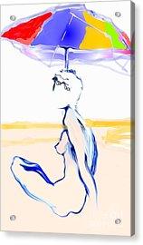 Sophi's Umbrella #2 - Female Nude Acrylic Print by Carolyn Weltman
