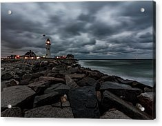 Stormy Clouds Over Old Scituate Lighthouse In The Early Morning Acrylic Print