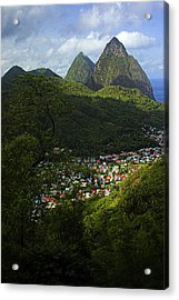 Soufriere Village- St Lucia Acrylic Print by Chester Williams