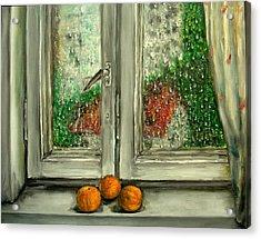 Sound Of Rain  Oil Painting Acrylic Print by Natalja Picugina