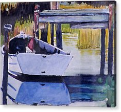 Acrylic Print featuring the painting Sound Side Dock by Jim Phillips