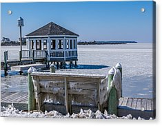Soundside Ice Acrylic Print by Gregg Southard